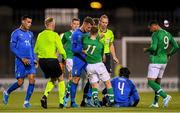 10 October 2019; Andrea Pinamonti of Italy during a coming together with Connor Ronan of Republic of Ireland during the UEFA European U21 Championship Qualifier Group 1 match between Republic of Ireland and Italy at Tallaght Stadium in Tallaght, Dublin. Photo by Eóin Noonan/Sportsfile