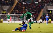 10 October 2019; Michael Obafemi of Republic of Ireland in action against Claud Adjapong of Italy during the UEFA European U21 Championship Qualifier Group 1 match between Republic of Ireland and Italy at Tallaght Stadium in Tallaght, Dublin. Photo by Eóin Noonan/Sportsfile