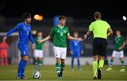 10 October 2019; Jayson Molumby of Republic of Ireland protests to refree Sascha Stegemann during the UEFA European U21 Championship Qualifier Group 1 match between Republic of Ireland and Italy at Tallaght Stadium in Tallaght, Dublin. Photo by Eóin Noonan/Sportsfile
