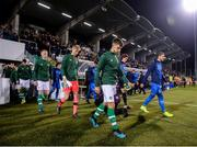 10 October 2019; Repiublic of Ireland captain Jayson Molumby leads his side out prior to the UEFA European U21 Championship Qualifier Group 1 match between Republic of Ireland and Italy at Tallaght Stadium in Tallaght, Dublin. Photo by Eóin Noonan/Sportsfile
