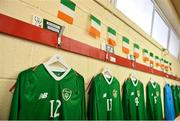 11 October 2019; A view of the shirt assigned to Harvey Neville of Republic of Ireland in the dressing room ahead of the Under-19 International Friendly match between Republic of Ireland and Denmark at The Showgrounds in Sligo. Photo by Sam Barnes/Sportsfile