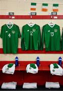 11 October 2019; The jerseys assigned to Mark McGuinness, Harvey Neville and Ronan Boyce hang in the Republic of Ireland dressing room ahead of the Under-19 International Friendly match between Republic of Ireland and Denmark at The Showgrounds in Sligo. Photo by Sam Barnes/Sportsfile