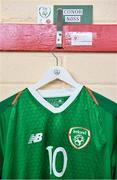 11 October 2019; A view of the shirt assigned to Conor Noss of Republic of Ireland in the dressing room ahead of the Under-19 International Friendly match between Republic of Ireland and Denmark at The Showgrounds in Sligo. Photo by Sam Barnes/Sportsfile