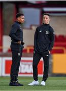 11 October 2019; Republic of Ireland players Lewis Richards, left, and Harvey Neville, inspect the pitch ahead of the Under-19 International Friendly match between Republic of Ireland and Denmark at The Showgrounds in Sligo. Photo by Sam Barnes/Sportsfile