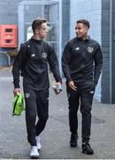 11 October 2019; Republic of Ireland players Harvey Neville, left, and Lewis Richards arrive ahead of the Under-19 International Friendly match between Republic of Ireland and Denmark at The Showgrounds in Sligo. Photo by Sam Barnes/Sportsfile