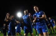 11 October 2019; Leinster players, from left, Hugo Keenan, Max Deegan and Rory O'Loughlin following the Guinness PRO14 Round 3 match between Leinster and Edinburgh at the RDS Arena in Dublin. Photo by Ramsey Cardy/Sportsfile