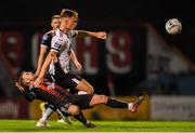 11 October 2019; Daniel Cleary of Dundalk is tackled by Keith Ward of Bohemians during the SSE Airtricity League Premier Division match between Bohemians and Dundalk at Dalymount Park in Dublin. Photo by Eóin Noonan/Sportsfile