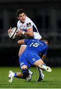 11 October 2019; Simon Hickey of Edinburgh is tackled by Hugo Keenan of Leinster during the Guinness PRO14 Round 3 match between Leinster and Edinburgh at the RDS Arena in Dublin. Photo by Harry Murphy/Sportsfile