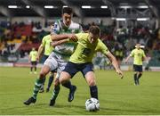 11 October 2019; Tony McNamee of Finn Harps in action against Neil Farrigua of Shamrock Rovers during the SSE Airtricity League Premier Division match between Shamrock Rovers and Finn Harps at Tallaght Stadium in Dublin. Photo by Matt Browne/Sportsfile