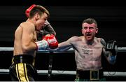 11 October 2019; Paddy Barnes, right, in action against Jay Harris during their IBF inter-continental flyweight title bout at the MTK Fight Night in the Ulster Hall, Belfast. Photo by David Fitzgerald/Sportsfile