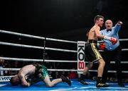 11 October 2019; Jay Harris, right, knocks out Paddy Barnes during their IBF inter-continental flyweight title bout at the MTK Fight Night in the Ulster Hall, Belfast. Photo by David Fitzgerald/Sportsfile