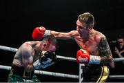 11 October 2019; Jay Harris, right, in action against Paddy Barnes during their IBF inter-continental flyweight title bout at the MTK Fight Night in the Ulster Hall, Belfast. Photo by David Fitzgerald/Sportsfile