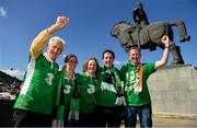 12 October 2019; Republic of Ireland supporters, Val Fitzgerald, from Tipperary, Michelle McArdle, from Sligo, James Fitzgerald, from Tipperary, Christine Fitzgerald, from Tipperary, and Philip Keenan, from Mullingar, Westmeath, in Tbilisi prior to their side's UEFA EURO2020 Qualifier match against Georgia at the Boris Paichadze Erovnuli Stadium. Photo by Seb Daly/Sportsfile