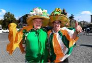 12 October 2019; Republic of Ireland supporters, Bobby Cunningham, from Kilcar, Donegal, left, with Frankie Murran, from Killybegs, Donegal, in Tbilisi prior to their side's UEFA EURO2020 Qualifier match against Georgia at the Boris Paichadze Erovnuli Stadium. Photo by Stephen McCarthy/Sportsfile