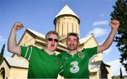12 October 2019; Republic of Ireland supporters, Dave Kilcoyne, from Carrick-on-Shannon, Co. Leitrim, left with, Dave Fleming, from Effin, Co. Limerick in Tbilisi prior to their side's UEFA EURO2020 Qualifier match against Georgia at the Boris Paichadze Erovnuli Stadium. Photo by Seb Daly/Sportsfile