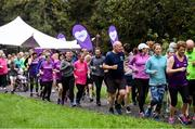 12 October 2019; Attendees at the Monaghan Town parkrun, Rossmore Forest Park, Gortnakeegan, Monaghan, where Vhi hosted a special event to celebrate their partnership with parkrun Ireland. Vhi ambassador and Olympian David Gillick was on hand to lead the warm up for parkrun participants before completing the 5km free event. Parkrunners enjoyed refreshments post event at the Vhi Rehydrate, Relax, Refuel and Reward areas. parkrun in partnership with Vhi support local communities in organising free, weekly, timed 5k runs every Saturday at 9.30am. To register for a parkrun near you visit www.parkrun.ie. Photo by Piaras Ó Mídheach/Sportsfile