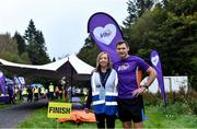12 October 2019; Vhi ambassador and Olympian David Gillick pictured with Event Director AnnaMarie McCleary at the Monaghan Town parkrun, Rossmore Forest Park, Gortnakeegan, Monaghan, where Vhi hosted a special event to celebrate their partnership with parkrun Ireland. Vhi ambassador and Olympian David Gillick was on hand to lead the warm up for parkrun participants before completing the 5km free event. Parkrunners enjoyed refreshments post event at the Vhi Rehydrate, Relax, Refuel and Reward areas. parkrun in partnership with Vhi support local communities in organising free, weekly, timed 5k runs every Saturday at 9.30am. To register for a parkrun near you visit www.parkrun.ie. Photo by Piaras Ó Mídheach/Sportsfile