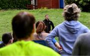12 October 2019; Vhi ambassador and Olympian David Gillick during the warm-up at the Monaghan Town parkrun, Rossmore Forest Park, Gortnakeegan, Monaghan, where Vhi hosted a special event to celebrate their partnership with parkrun Ireland. Vhi ambassador and Olympian David Gillick was on hand to lead the warm up for parkrun participants before completing the 5km free event. Parkrunners enjoyed refreshments post event at the Vhi Rehydrate, Relax, Refuel and Reward areas. parkrun in partnership with Vhi support local communities in organising free, weekly, timed 5k runs every Saturday at 9.30am. To register for a parkrun near you visit www.parkrun.ie. Photo by Piaras Ó Mídheach/Sportsfile