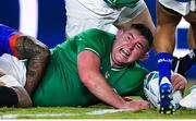 12 October 2019; Tadhg Furlong of Ireland celebrates after scoring his side's second try during the 2019 Rugby World Cup Pool A match between Ireland and Samoa at the Fukuoka Hakatanomori Stadium in Fukuoka, Japan. Photo by Brendan Moran/Sportsfile
