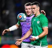 12 October 2019; Jonathan Sexton of Ireland celebrates after scoring his side's third try with team-mate Peter O'Mahony, left, during the 2019 Rugby World Cup Pool A match between Ireland and Samoa at the Fukuoka Hakatanomori Stadium in Fukuoka, Japan. Photo by Brendan Moran/Sportsfile