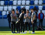 12 October 2019; Republic of Ireland players, from left, Sean Maguire, Jack Byrne, Josh Cullen, Aaron Connolly and Callum O'Dowda prior to the UEFA EURO2020 Qualifier match between Georgia and Republic of Ireland at the Boris Paichadze Erovnuli Stadium in Tbilisi, Georgia. Photo by Seb Daly/Sportsfile
