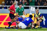 12 October 2019; Jacob Stockdale of Ireland celebrates after Jonathan Sexton scores thier side's fourth try during the 2019 Rugby World Cup Pool A match between Ireland and Samoa at the Fukuoka Hakatanomori Stadium in Fukuoka, Japan. Photo by Brendan Moran/Sportsfile