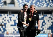 12 October 2019; Republic of Ireland assistant coach Robbie Keane, left, with technical advisor Dave Bowman, prior to the UEFA EURO2020 Qualifier match between Georgia and Republic of Ireland at the Boris Paichadze Erovnuli Stadium in Tbilisi, Georgia. Photo by Stephen McCarthy/Sportsfile
