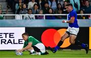 12 October 2019; Andrew Conway of Ireland scores his side's seventh try during the 2019 Rugby World Cup Pool A match between Ireland and Samoa at the Fukuoka Hakatanomori Stadium in Fukuoka, Japan. Photo by Brendan Moran/Sportsfile