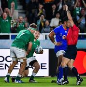 12 October 2019; Andrew Conway of Ireland celebrates after scoring his side's seventh try with team-mate Josh Van der Flier, 7, as referee Nic Berry signals a try, during the 2019 Rugby World Cup Pool A match between Ireland and Samoa at the Fukuoka Hakatanomori Stadium in Fukuoka, Japan. Photo by Brendan Moran/Sportsfile