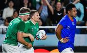 12 October 2019; Andrew Conway of Ireland celebrates after scoring his side's seventh try with team-mate Josh Van der Flier, left, during the 2019 Rugby World Cup Pool A match between Ireland and Samoa at the Fukuoka Hakatanomori Stadium in Fukuoka, Japan. Photo by Brendan Moran/Sportsfile