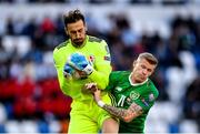 12 October 2019; Giorgi Loria of Georgia in action against James McClean of Republic of Ireland during the UEFA EURO2020 Qualifier match between Georgia and Republic of Ireland at the Boris Paichadze Erovnuli Stadium in Tbilisi, Georgia. Photo by Seb Daly/Sportsfile