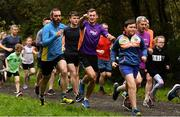 12 October 2019; Vhi ambassador and Olympian David Gillick, centre, pictured at the Monaghan Town parkrun, Rossmore Forest Park, Gortnakeegan, Monaghan, where Vhi hosted a special event to celebrate their partnership with parkrun Ireland. Vhi ambassador and Olympian David Gillick was on hand to lead the warm up for parkrun participants before completing the 5km free event. Parkrunners enjoyed refreshments post event at the Vhi Rehydrate, Relax, Refuel and Reward areas. parkrun in partnership with Vhi support local communities in organising free, weekly, timed 5k runs every Saturday at 9.30am. To register for a parkrun near you visit www.parkrun.ie. Photo by Piaras Ó Mídheach/Sportsfile