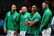 12 October 2019; Bundee Aki and Robbie Henshaw of Ireland, right, look on during the final moments of the 2019 Rugby World Cup Pool A match between Ireland and Samoa at the Fukuoka Hakatanomori Stadium in Fukuoka, Japan. Photo by Brendan Moran/Sportsfile