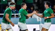 12 October 2019; Andrew Conway of Ireland, centre, celebrates with team-mate Joey Carbery after scoring their side's seventh try during the 2019 Rugby World Cup Pool A match between Ireland and Samoa at the Fukuoka Hakatanomori Stadium in Fukuoka, Japan. Photo by Brendan Moran/Sportsfile