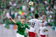 12 October 2019; James Collins of Republic of Ireland Gia Grigalava of Georgia during the UEFA EURO2020 Qualifier match between Georgia and Republic of Ireland at the Boris Paichadze Erovnuli Stadium in Tbilisi, Georgia. Photo by Stephen McCarthy/Sportsfile