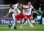 12 October 2019; James Collins of Republic of Ireland in action against Guram Kashia, left, and Jaba Kankava of Georgia during the UEFA EURO2020 Qualifier match between Georgia and Republic of Ireland at the Boris Paichadze Erovnuli Stadium in Tbilisi, Georgia. Photo by Stephen McCarthy/Sportsfile