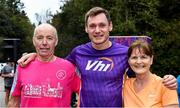 12 October 2019; Husband and wife Kevin and Patricia Hurson with Vhi ambassador and Olympian David Gillick after completing their 50th parkrun at the Monaghan Town parkrun, Rossmore Forest Park, Gortnakeegan, Monaghan, where Vhi hosted a special event to celebrate their partnership with parkrun Ireland. Vhi ambassador and Olympian David Gillick was on hand to lead the warm up for parkrun participants before completing the 5km free event. Parkrunners enjoyed refreshments post event at the Vhi Rehydrate, Relax, Refuel and Reward areas. parkrun in partnership with Vhi support local communities in organising free, weekly, timed 5k runs every Saturday at 9.30am. To register for a parkrun near you visit www.parkrun.ie. Photo by Piaras Ó Mídheach/Sportsfile