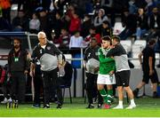 12 October 2019; Aaron Connolly of Republic of Ireland is embraced by assistant coach Robbie Keane before coming on as a substitute during the UEFA EURO2020 Qualifier match between Georgia and Republic of Ireland at the Boris Paichadze Erovnuli Stadium in Tbilisi, Georgia. Photo by Seb Daly/Sportsfile