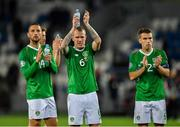 12 October 2019; Republic of Ireland players, from left, Conor Hourihane, Glenn Whelan and Seamus Coleman clap the supporters following the UEFA EURO2020 Qualifier match between Georgia and Republic of Ireland at the Boris Paichadze Erovnuli Stadium in Tbilisi, Georgia. Photo by Seb Daly/Sportsfile