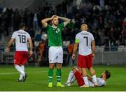 12 October 2019; Shane Duffy of Republic of Ireland reacts after failing to convert a late chance during the UEFA EURO2020 Qualifier match between Georgia and Republic of Ireland at the Boris Paichadze Erovnuli Stadium in Tbilisi, Georgia. Photo by Seb Daly/Sportsfile