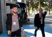 12 October 2019; Republic of Ireland's Matt Doherty and manager Mick McCarthy arrive prior to the UEFA EURO2020 Qualifier match between Georgia and Republic of Ireland at the Boris Paichadze Erovnuli Stadium in Tbilisi, Georgia. Photo by Stephen McCarthy/Sportsfile
