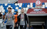 12 October 2019; Jack Byrne and Sean Maguire, left, of Republic of Ireland during the UEFA EURO2020 Qualifier match between Georgia and Republic of Ireland at the Boris Paichadze Erovnuli Stadium in Tbilisi, Georgia. Photo by Stephen McCarthy/Sportsfile