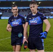 12 October 2019; Niall Coakley, left, and Tom Lahiff of St Judes after the Dublin County Senior Club Football Championship Quarter-Final match between St Judes and St Vincents at Parnell Park in Dublin. Photo by Matt Browne/Sportsfile
