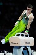 12 October 2019; Rhys McClenaghan of Ireland competing in the pommel-horse final during the 49th FIG Artistic Gymnastics World Championships at Stuttgart in Germany. Photo by Ricardo Bufolin/Sportsfile