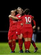 12 October 2019; Rebecca Cooke of Shelbourne, centre, celebrates with team-mates after scoring her side's second goal during the Só Hotels Women's National League match between Peamount United and Shelbourne at PRL Park, Greenogue, Co. Dublin. Photo by Sam Barnes/Sportsfile