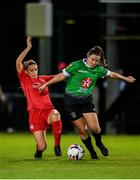 12 October 2019; Eleanor Ryan Doyle of Peamount United in action against Chloe Mustaki of Shelbourne during the Só Hotels Women's National League match between Peamount United and Shelbourne at PRL Park, Greenogue, Co. Dublin. Photo by Sam Barnes/Sportsfile