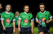 12 October 2019; Peamount United players from left, Eleanor Ryan Doyle, Aine O'Gorman and Niamh Farrelly, dejected following the Só Hotels Women's National League match between Peamount United and Shelbourne at PRL Park, Greenogue, Co. Dublin. Photo by Sam Barnes/Sportsfile