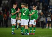 12 October 2019; Republic of Ireland players, from left, James McClean, Glenn Whelan, Matt Doherty, Seamus Coleman and Aaron Connolly following the UEFA EURO2020 Qualifier match between Georgia and Republic of Ireland at the Boris Paichadze Erovnuli Stadium in Tbilisi, Georgia. Photo by Seb Daly/Sportsfile