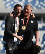 12 October 2019; Republic of Ireland assistant coach Robbie Keane and technical advisor Dave Bowman prior to the UEFA EURO2020 Qualifier match between Georgia and Republic of Ireland at the Boris Paichadze Erovnuli Stadium in Tbilisi, Georgia. Photo by Stephen McCarthy/Sportsfile