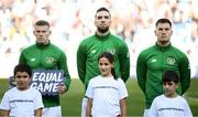 12 October 2019; Republic of Ireland players, from left, James McClean, Shane Duffy and James Collins during the UEFA EURO2020 Qualifier match between Georgia and Republic of Ireland at the Boris Paichadze Erovnuli Stadium in Tbilisi, Georgia. Photo by Stephen McCarthy/Sportsfile